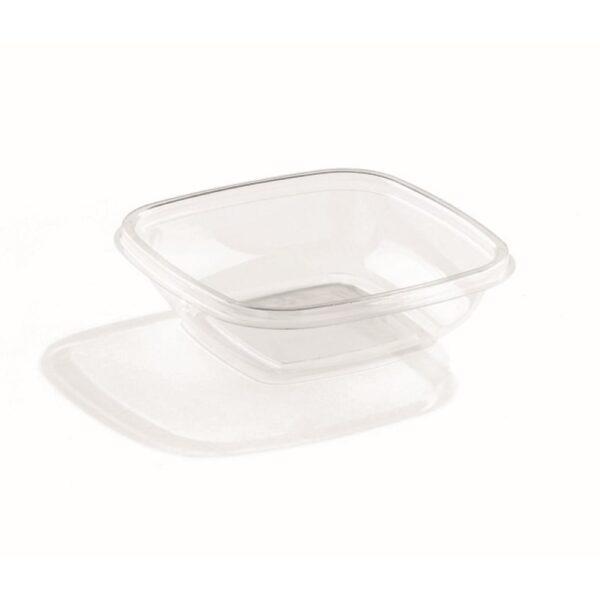 Sabert újrahasznosított szögletes Rpet átlátszó salátás tál 250ml 12x12cm 50db