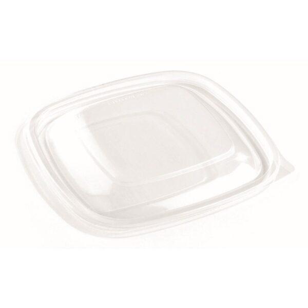 Sabert többször használható műanyag PP tető négyzet alakú cukornád tálhoz 750ml 16x16cm 50db